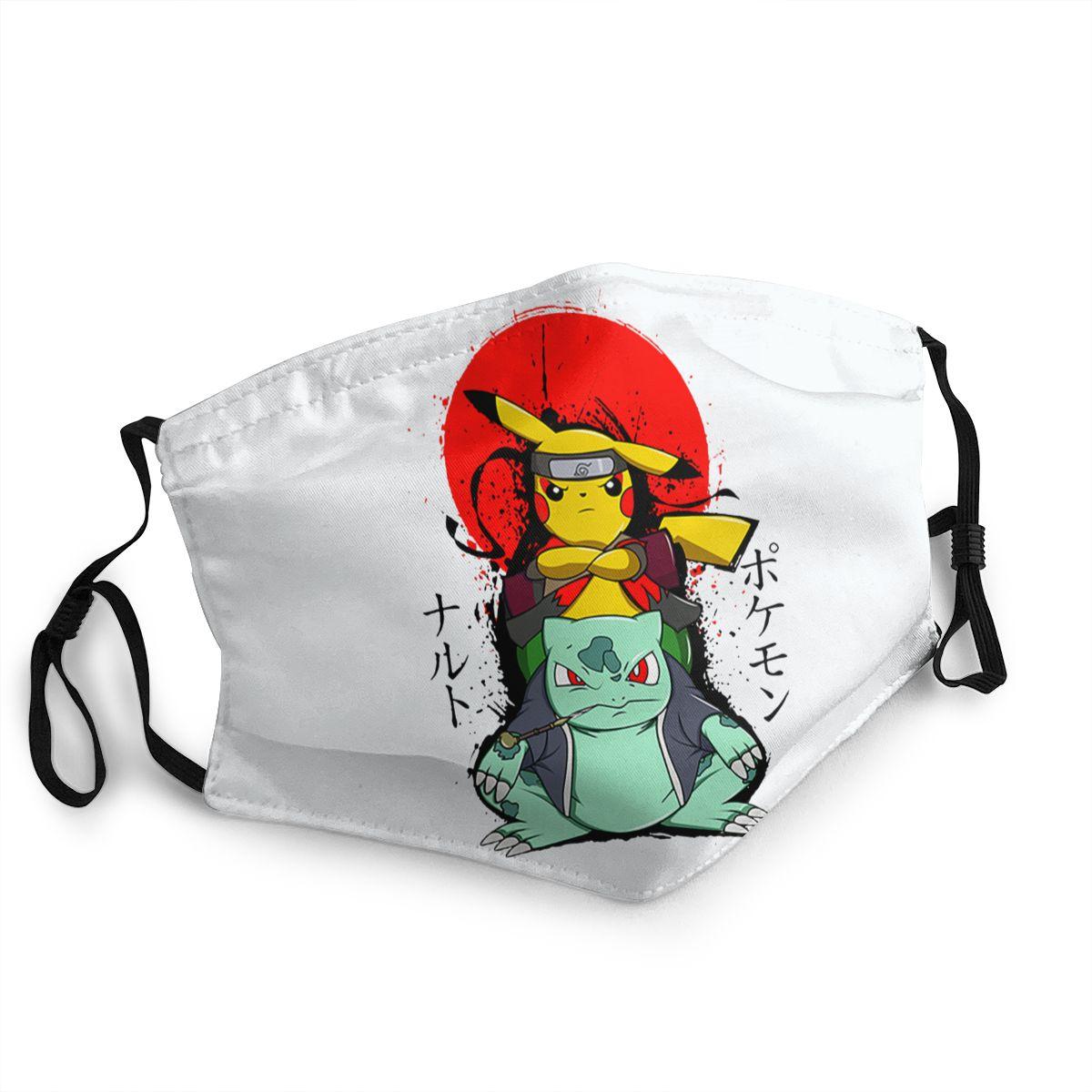 Pikachu Bulbasaur Naruto Pokemon Non-Disposable Mouth Face Mask Anti Haze Dustproof Mask Protection Cover Respirator Muffle