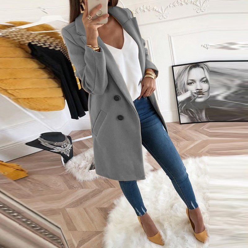 New Women Coat Winter  Slim Long Sleeve Turn-Down Collar Autumn Blends Jacket Office Lady Long Wool Coat 3XL Plus Size
