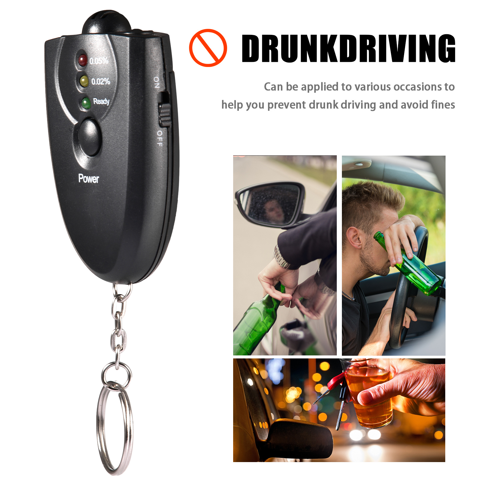 Alcohol Tester Portable Non-Contact Breathalyzer Digital Breath Alcohol Tester Police Alert Breath Alcohol Tester Free Shippip
