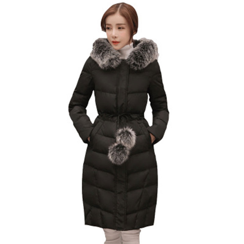 Long Thick Slim Fox Fur Collar Hooded   Down     Coat   Women Long Sleeve Warm Zipper Lacing   Down     Coat   Fashion Elegant Outwears Winter