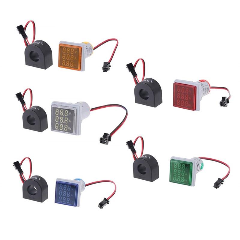 3 In 1 AC 60-500V 100A Voltmeter Ammeter HZ Hertz Frequency Meter 22mm Digital Current Voltage Signal Light LED Lamp Indicator