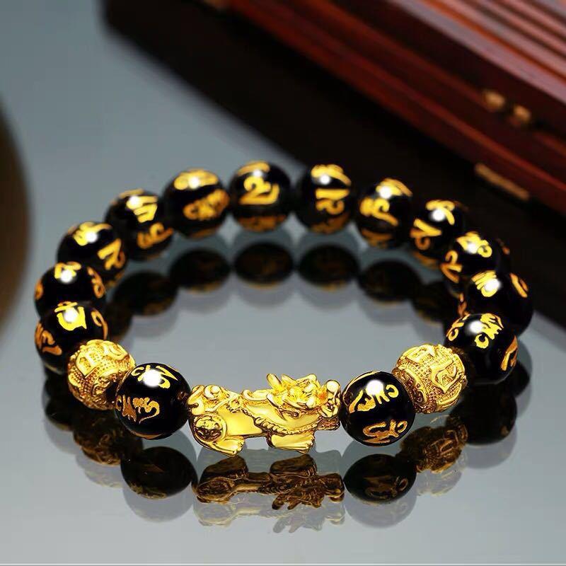 Браслет Rinhoo Feng Shui из обсидианского камня с бусинами для мужчин и женщин, мужской браслет с отважными войсками, золотой и черный браслет Pixiu ...