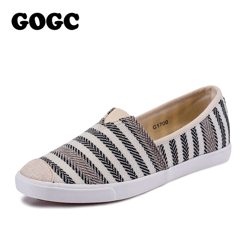 GOGC Women Canvas Shoes Women Casual Flats Fashion Ladies Spring/Autumn Shoes Designer White Sneakers Spring Women Flats Shoes
