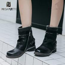 Prova perfetto couro genuíno retro botas de tornozelo feminino fazer velho cores misturadas rebite corrente fivela cinta wearproof botas de fundo grosso