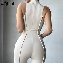 FQLWL Summer Streetwear Bodycon Jumpsuit Women O Neck Zipper Sleeveless Jumpsuits Female Casual White Black Outfits Women 2021