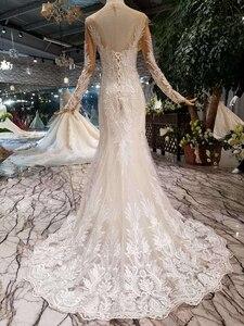 Image 2 - BGW HT43025 Свадебные платья русалки тяжелые Свадебные платья ручной работы с кристаллами Длинные трубы 2020 модный дизайн со съемным шлейфом