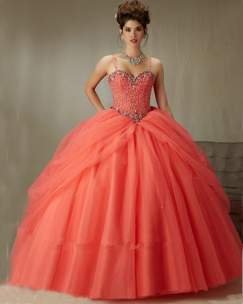 89071 Coral Red Capri Spaghetti Straps Sweetheart Ball Gown Quinceanera 15 Years Free Shipping Mother Of The Bride Dresses