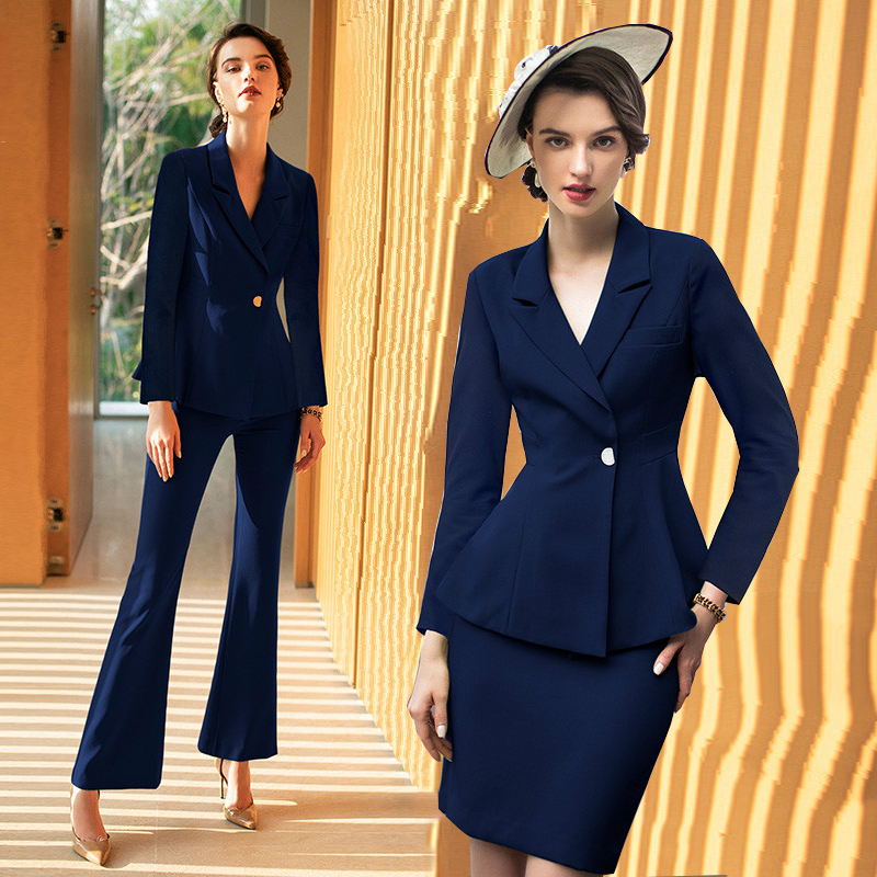 Women's Office Suits Set Professional Female Business Office Lady Suit Plus Size Navy Blazer Pant Designer Tailor 2019 Free Ship