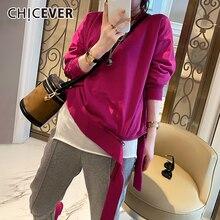 Женская Асимметричная Толстовка chicever повседневные пуловеры