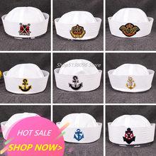 Chapéus militares para adultos, marinheiro, capitão branco, marinho, âncora, barco marítimo, para crianças, festa, cosplay, festival