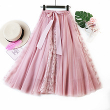 Long Tulle Skirt High Waist Summer A Line Black Skirts 2019 Mesh Women
