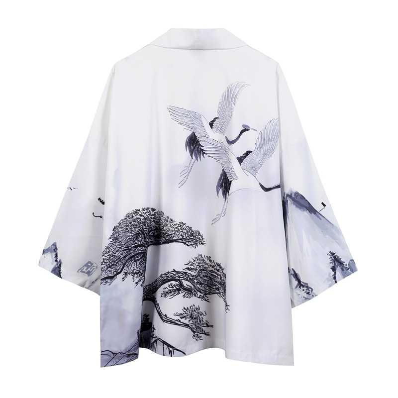 Samurai Haori Japanese Style Ukiyo-e Cardigan Harajuku Kimono Traditional Clothing Asian Dragon Yukata Men Women Loose Jacket