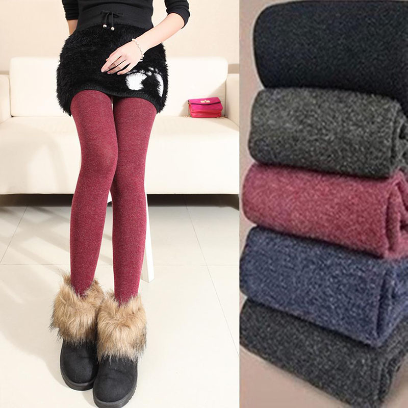 Plus Size Leggings Women's Winter Warm Skinny Slim Fit Leggings Stretch Knitted Thick Stirrup Women Leggings 2019 Women Clothing