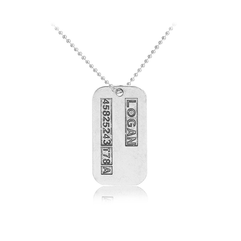 10pcs/lot Wholesale X-Men Wolverines Necklace Vintage Silver Alloy X MAN Dog Tag Pendant Necklace Men Jewelry Gifts Promotion