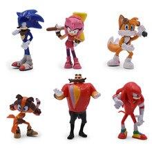 6 pièces/ensemble figurines sonores jouet Pvc 7cm jouet Sonic ombre queues personnages Figure jouets pour enfants animaux jouets ensemble cadeaux de noël