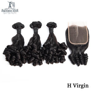 Amanda Funmi Hair Lala Curl Double Drawn Hair Bundles with Closure Unprocessed Human Virgin Hair Brazilian Hair Weave Bundles