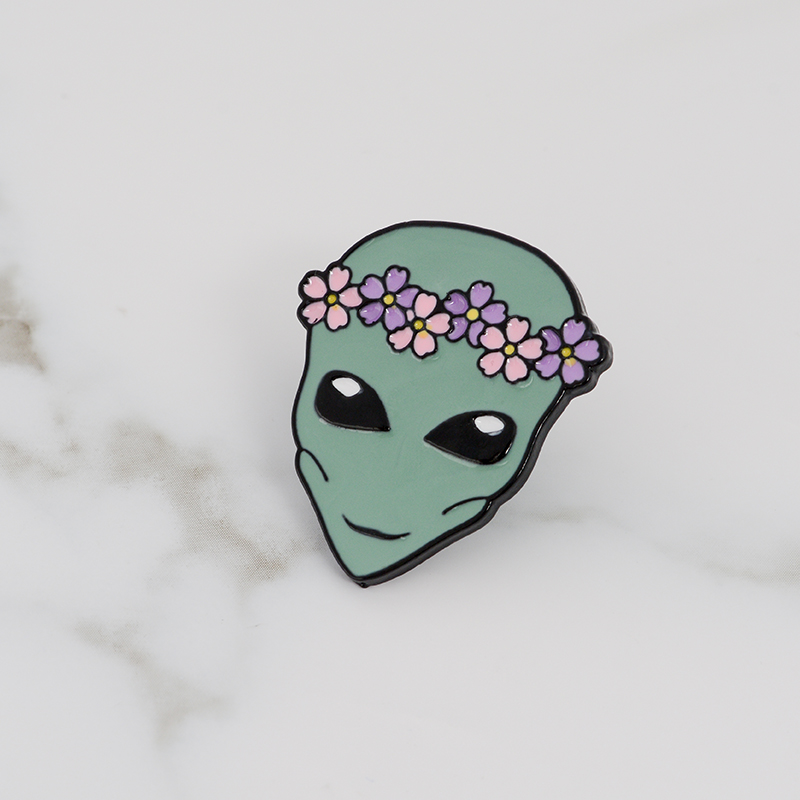 Alien enamel pin Wreath saucerman brooch Button Badge Lapel pin Clothes cap bag Universe explore jewelry Gift for kids friends in Brooches from Jewelry Accessories