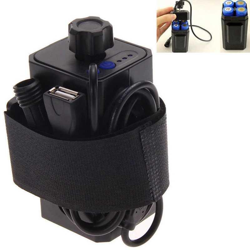 GTF 8.4V Bateria À Prova D' Água Caso de uso 4*18650 baterias Casa Capa Para Bicicleta Lâmpada com USB /DC interface Dupla