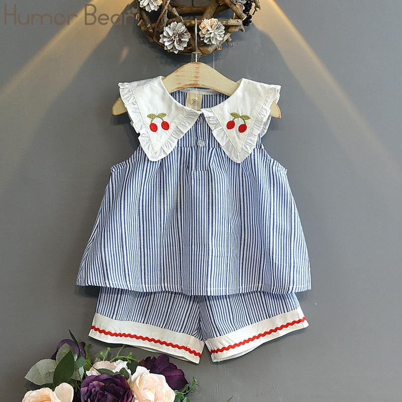 Humor Bear New Summer Toddler Children Clothes Cotton Set Sleeveless Stripe Tops + Shorts 2pcs Kids Cute Suit Girl Clothing