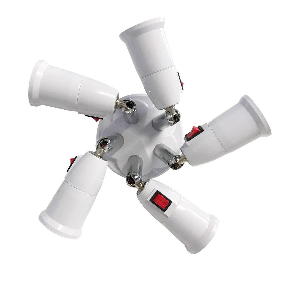 E27 Splitter With Switch 3/4 Heads Lamp Base Adjustable LED Light Bulb Holder Adapter Converter Socket Light Bulb Holder
