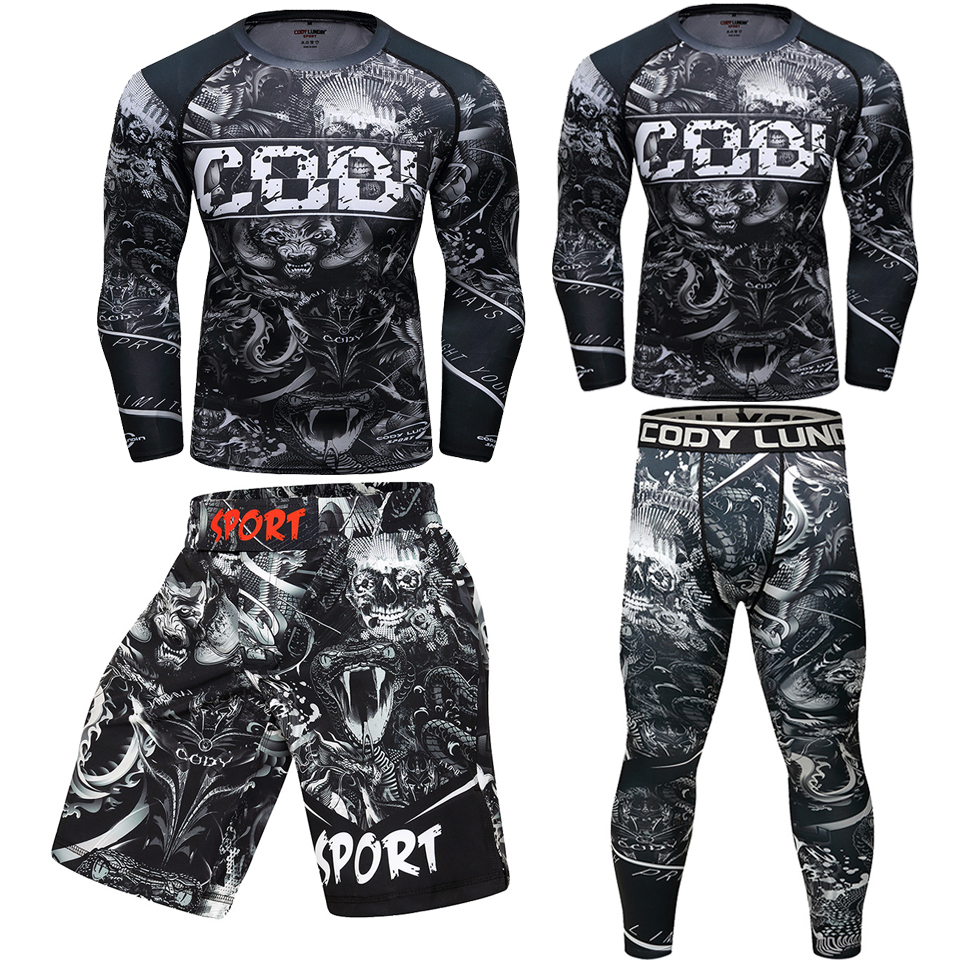 Muay Thai Mma Rashguard Jiu Jusit T-shirts+Pants Bjj GI MMA Compression Boxing Jerseys Set KickBoxing 3D Printing Fightwear Suit