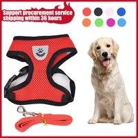 Arnés de malla suave para perros y gatos, suministros de correa ajustable para caminar al aire libre