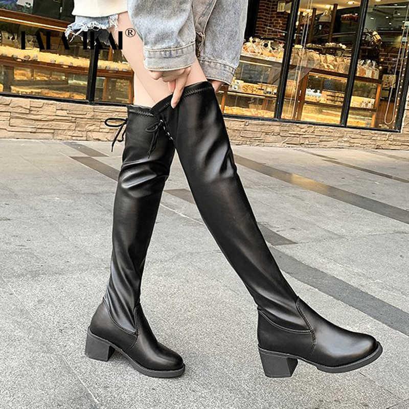 LALA IKAI Çizmeler Kadın 2019 Sonbahar PU Deri Diz Çizmeler Üzerinde Kış sıcak Polar siyah ayakkabı Kadın Yüksek Topuk Çizmeler WC5922-4