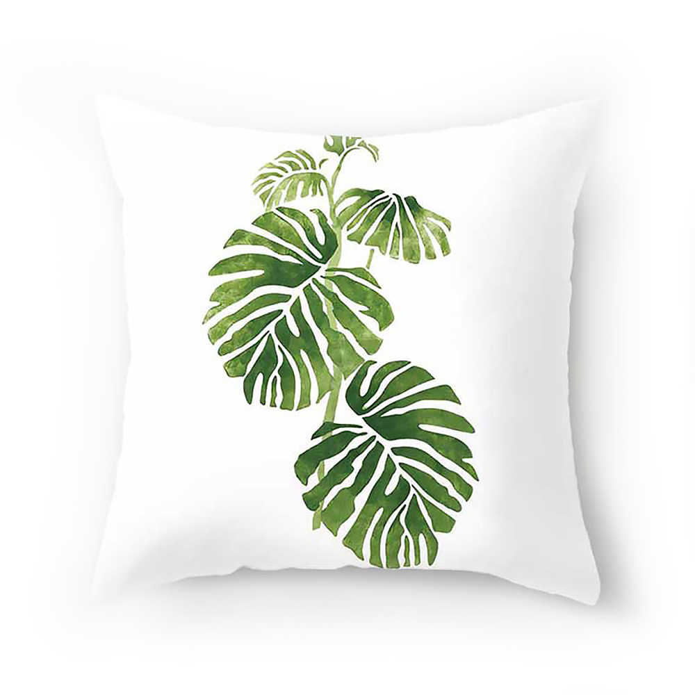 צמחים טרופיים עלה דקל ירוק עלים Monstera כרית מכסה היביסקוס פרח כרית כיסוי דקורטיבי בז 'פשתן כרית מקרה