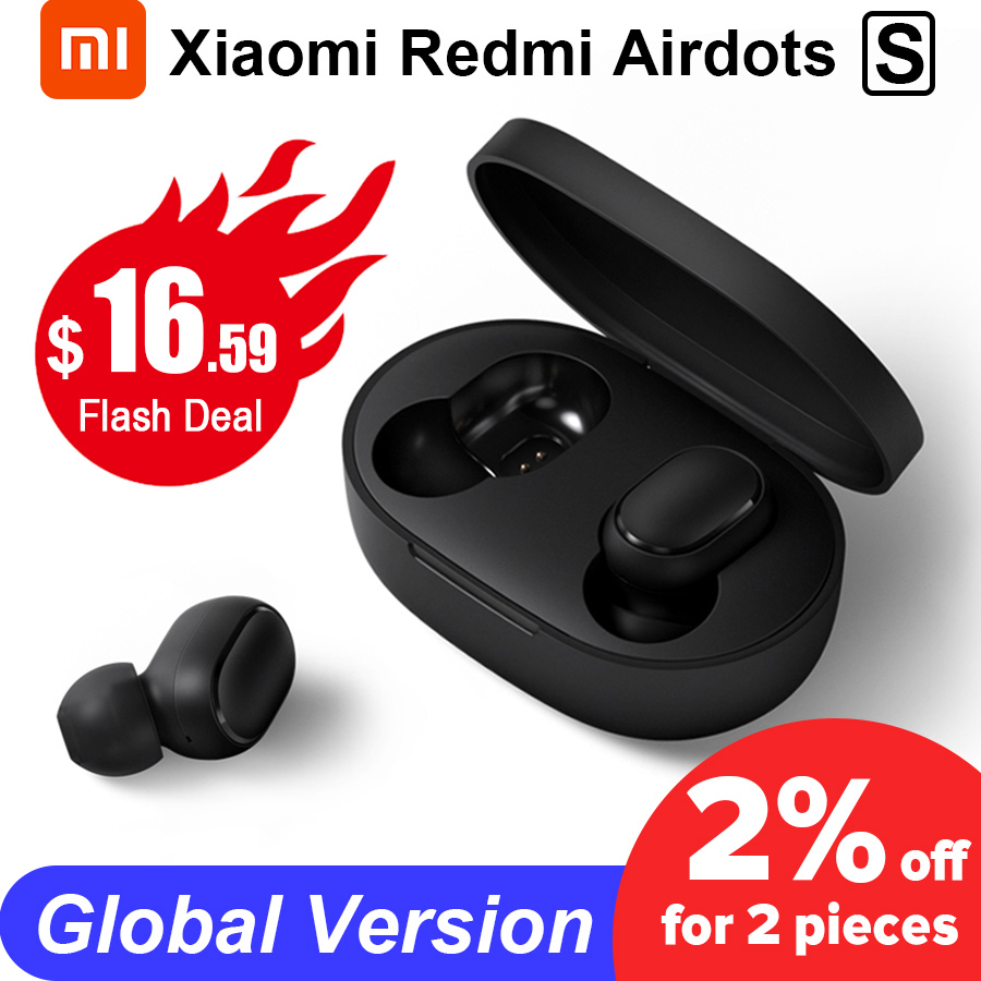 Original Xiaomi Redmi Airdots S TWS Wireless Earphone Xiaomi Earbuds Voice Control Bluetooth 5.0 Noise Reduction Tap AI Control(China)