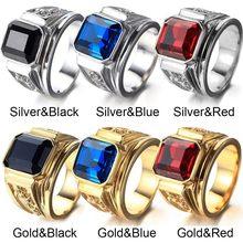 FDLK Unisex Retro geometryczny niebieski pierścionek z kryształem ślub biżuteria na przyjęcie zaręczynowe prezenty