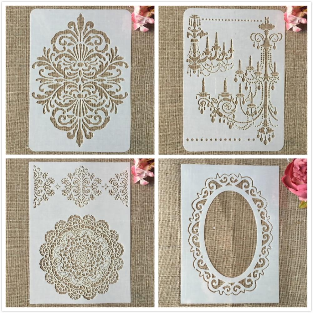 4Pcs/Lot 29cm A4 Mirror Chandelier Mandala DIY Layering Stencils Painting Scrapbook Coloring Embossing Album Decorative Template