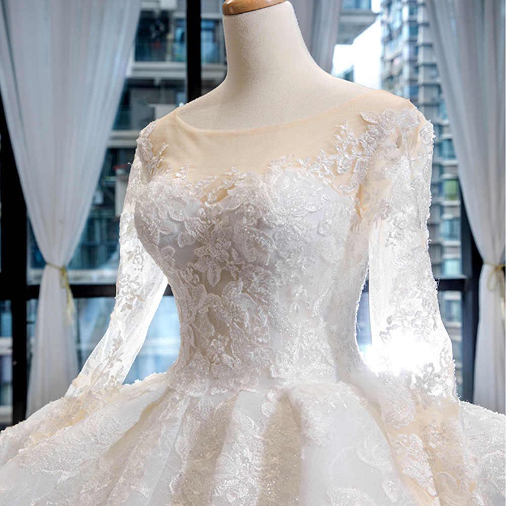 Tuyệt Đẹp Tay Dài Bầu Áo Váy Alibaba Trung Quốc Đầm Vestido De Noiva Chiếu Trúc Hạt Appliques Ren Cô Dâu Đồ Bầu Nhà Nguyện Xe Lửa