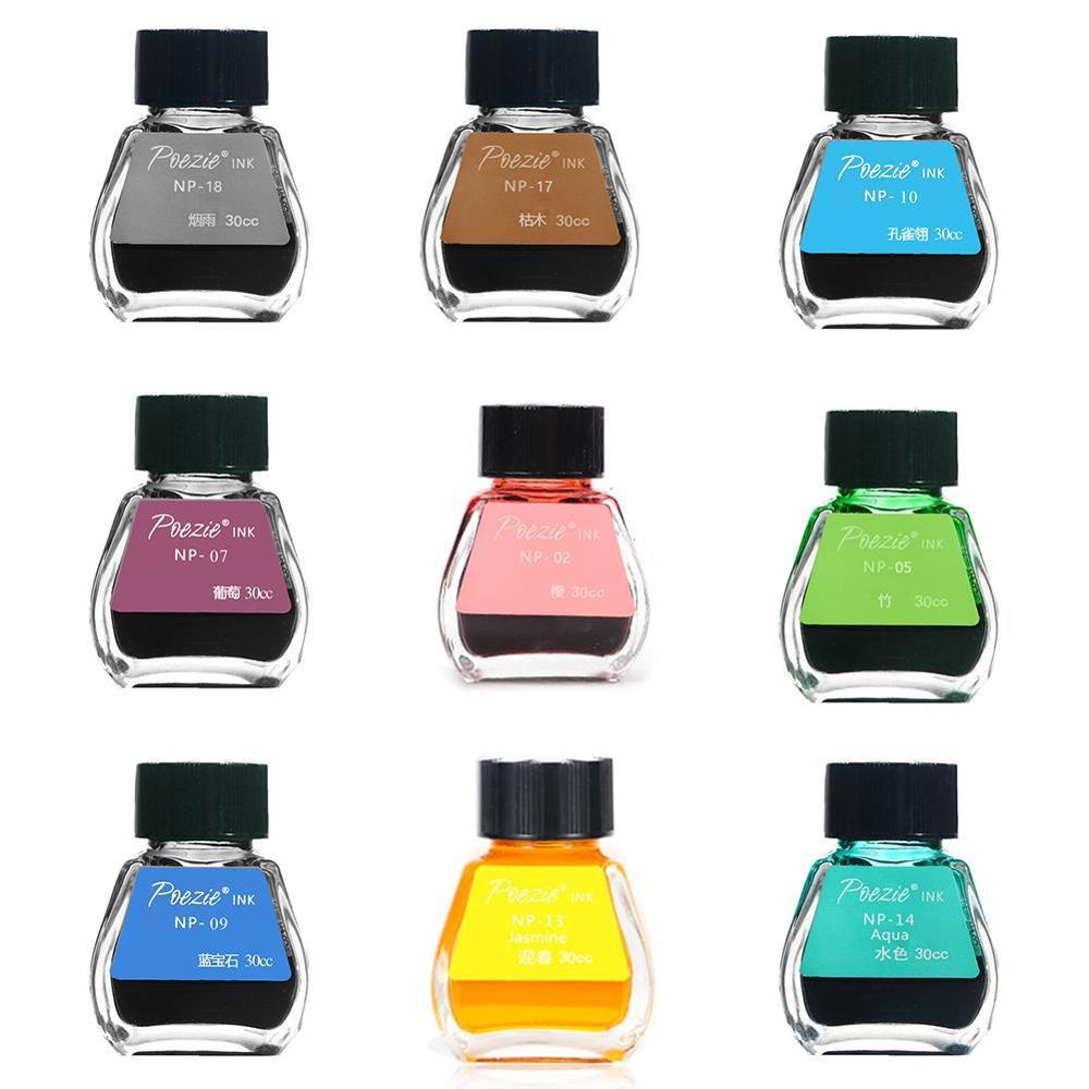 11 Colors 30ml Bottled Ink Color Fountain Pen Ink Not Blocking The Pen Colorable Non-carbon Ink Refill School Office Supplies