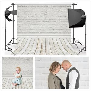 Laeacco White Brick Wall Wooden Floor Photophone Photography Backgrounds Baby Doll Pet Portrait Backdrops For Photo Studio Props