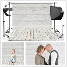 Laeacco白レンガの壁木製床photophone写真撮影背景ベビードールペット肖像の背景の写真の小道具