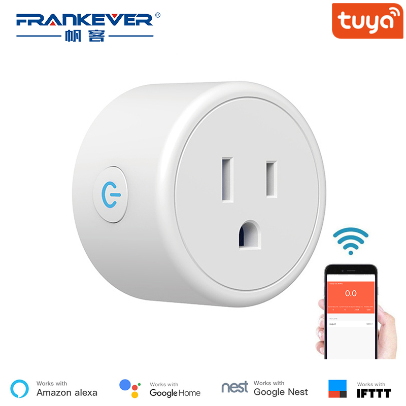 FrankEver Mini US Wifi Plug With Surge Protector 110-240V Voice Control Smart Socket Work With Alexa Google Home Tuya APP