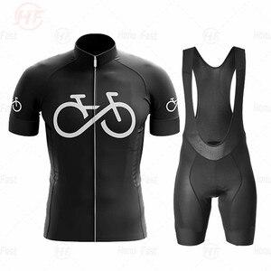bike black Pro Team Cycling Jersey Set new Men Mountain Bike Clothing Summer MTB Bicycle Wear Clothes Cycling Clothing triathlon