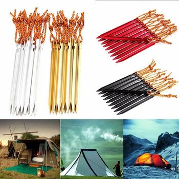 100pcs/lot 18cm Heavy Duty Aluminium Alloy Tent Peg Nail 700I Canopy Camping Stake Pegs with Rope Hot Sale Traveling Ground Nail