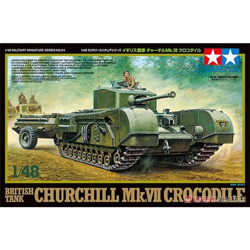 Tamiya 32594 1/48 British Tank Churchill Mk.VII Crocodile MIlitary Display Collectible Toy Plastic Assembly Building Model Kit