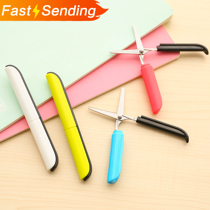 JIANWU Personality Color Scissors Pen Type Folding Portable Scissors Safety Hand Scissors With Protective Cover Office Supplies