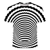 Black and White Swirl T-Shirt Men Women Dizzy T-Shirt 3D Funny Hypnotic T-Shirt Summer Casual Paisley T shirt Streetwear