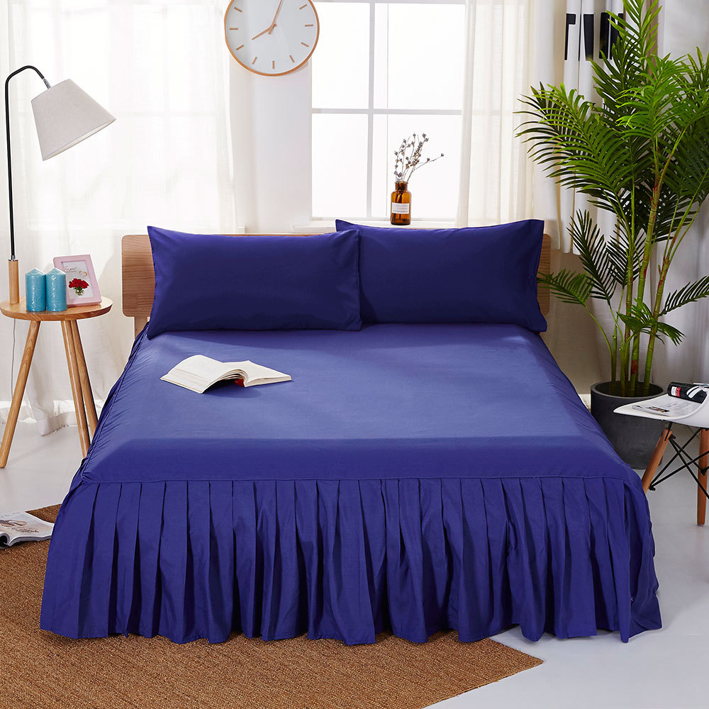 1pc Sanding Bedspread Solid Color Fitted Sheet Cover Soft Non-Slip King Queen Bed Skirt Protector Bed Mat Cover 1.2m/1.5m/1.8m 15