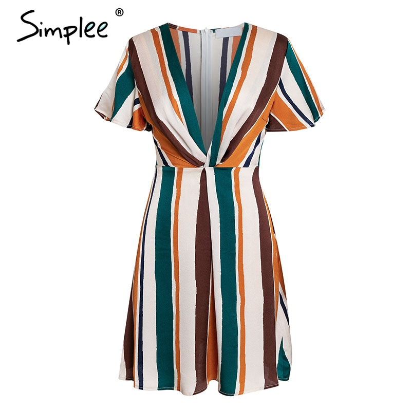 Simplee Rainbow stripe women short dress Sexy deep v-neck summer dress Elegant short sleeve office ladies dress vestidos 2019