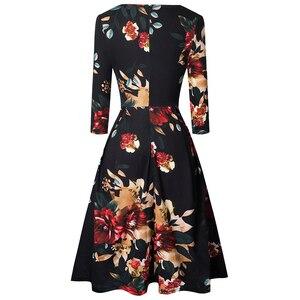 Image 2 - Güzel sonsuza kadar Vintage katı renk V yaka pin up cepler vestidos A Line iş parti kadın Flare salıncak kadın elbise A126