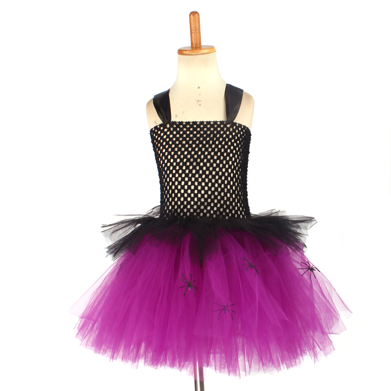 Spider Girls Witch Tutu Dress with Hat Black Purple Children Halloween Carnival Cosplay Witch Costume Kids Party Fancy Dresses (5)