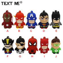 Metin usb 2.0 Superman Batman kaptan amerika 10 model USB flash sürücü kalem sürücü 4GB 8GB 16GB 32GB GB memory Stick(China)