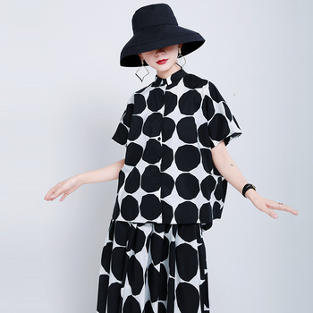 TRODEAM2020 Fashion Summer Women Ladies Blouses And Tops Casual Lapel Black And White Dot Halter Back Loose Female Checked Shirt рубашка urban classics ladies checked flanell shirt black white l