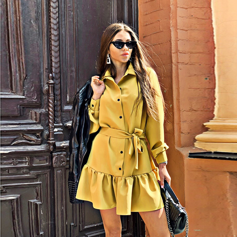 Women Vintgae Ruffled Sashes A-line Party Dress Long Sleeve Turn Down Collar Solid Mini Casual Dress 2020 Ealy Spring New Dress