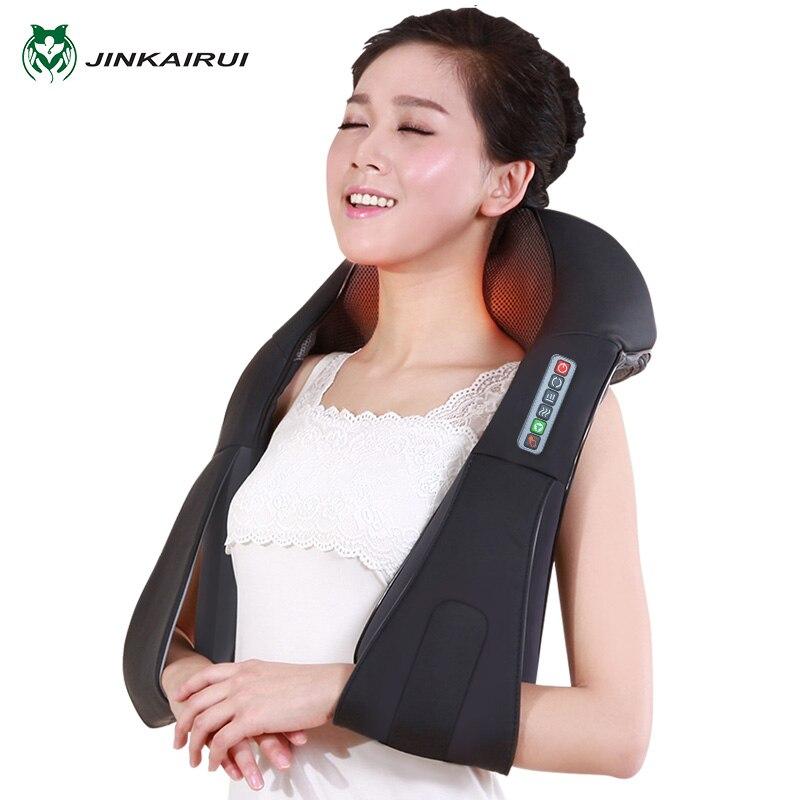 JinKaiRui Electric Shiatsu Cervical Neck Massage Relax Body Roller Massage Acupressure Health Massageador With Infrared Heating