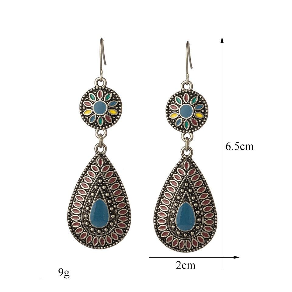 Ethnic Big Long Water Drop Earrings for Women Bohemian Vintage Metal Colorful Flowers Wedding Statement Earring Indian Jewelry (39)